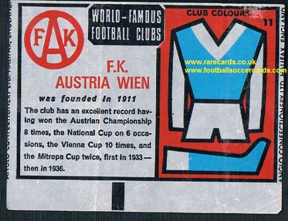 1970 Anglo Gum waxy paper insert World Famous Football Clubs F.K. Austria Wien
